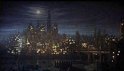 Gotham City's skyline, as it appears in the 1989 Batman movie.