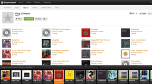 Grooveshark - Image: Grooveshark screenshot of King Crimson work