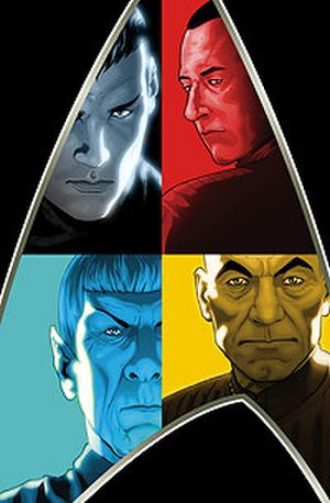 Star Trek: Countdown - Advert for Countdown displaying the cover of each issue. Clockwise: Nero, Data, Picard, and Spock.