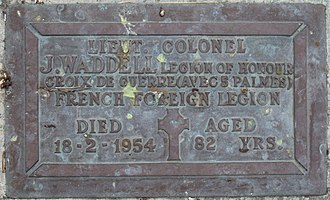 James Waddell (army officer) - Image: James Waddell Lo H Plaque