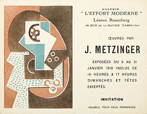 Léonce Rosenberg - Jean Metzinger, invitation card for the exhibition at Léonce Rosenberg's Galerie de L'Effort Moderne, January 1919