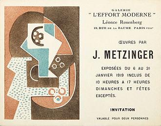 Léonce Rosenberg - Jean Metzinger, invitation card for the exhibition at Léonce Rosenberg's Galerie de L'Effort Moderne, January 1919