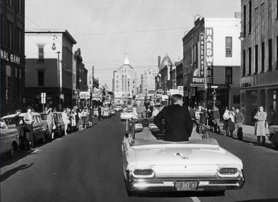 John F Kennedy campaigns in downtown Rockford circa October 1960