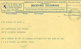 Tatsuo Kawai - Telegram from Kawai to John Curtin expressing sympathy at the loss of HMAS Sydney.