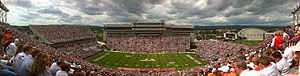 "Lane Stadium - Panorama of Lane Stadium during the ""white out"" Virginia Tech vs. Austin Peay football game, September 8, 2012."