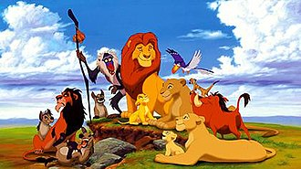 The Lion King - A promotional image of the characters from the film. From left to right: Shenzi, Scar, Ed, Banzai, Rafiki, Young Simba, Mufasa, Young Nala, Sarabi, Zazu, Sarafina, Timon, and Pumbaa