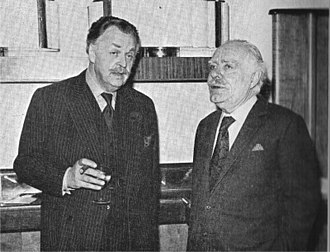 Osbert Lancaster - Lancaster (right) with Frederic Lloyd in 1971 at the launch of the D'Oyly Carte Opera Company revival of The Sorcerer designed by Lancaster.