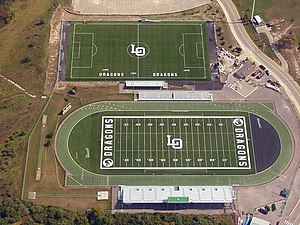 Lake Orion High School - The soccer, football, and track and field facilities at Lake Orion High School.