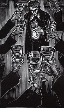 A black-and-white illustration. Framed by arms raising wineglasses, a dark figure stands at the top of the image, his eyes in shadows and with a depressed expression on his face.