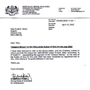 "North Borneo dispute - Annual ""Cession Money"" payment by Malaysian Embassy to the heirs of the Sultanate of Sulu"