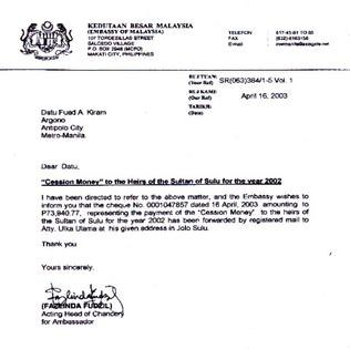 Malaysian Lease Payment for Sabah for 2003
