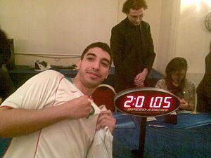 Monir Amerkhous - Monir Amerkhous shows his happiness after setting a new national record in Rubik's Cube.