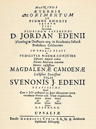 Lucidor - Front page of funeral poem for the young boy Sven Edenius.