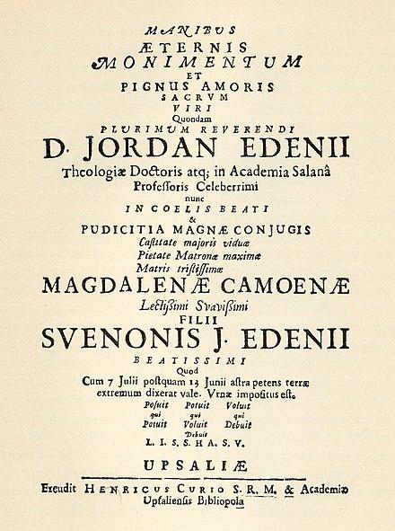 Begravnings poem av Lasse Lucideor till begravning av son till Jordanus Nicolai Edenius och Magdalena Cameen