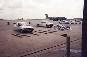 Operation Support Hope - Lockheed C-5B cargo jet participating in Operation Support Hope parked at Moi International Airport, Mombasa, July 1994.