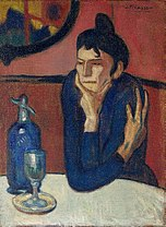 Pablo Picasso, 1901-02, Femme au cafe (Absinthe Drinker), oil on canvas, 73 x 54 cm, Hermitage Museum, Saint Petersburg, Russia.jpg