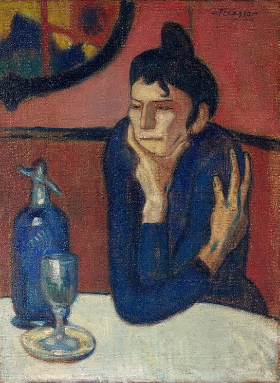 Pablo Picasso, 1901-02, Femme au caf%C3%A9 (Absinthe Drinker), oil on canvas, 73 x 54 cm, Hermitage Museum, Saint Petersburg, Russia