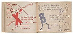 Kate Steinitz - Page from Die Scheuche: Märchen (The Scarecrow: A Fairytale), 1925, by Kurt Schwitters, Kate Steinitz, and Theo van Doesburg.