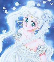 Princess Serenity as seen in the manga. While Usagi herself has been drawn with white, yellow, and even pink hair, Serenity consistently has white hair. In the anime, both characters are always blonde.