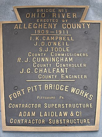 Sewickley Bridge - Builder's plaque from the original Sewickley Bridge, preserved in a park in Sewickley.