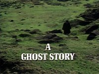 "The image is the title screen of the adaptation of ""The Signalman"". A lone traveller, wearing black Victorian travelling garments and silhouetted so that he cannot be identified treats across green fields pockmarked by molehills. He is walking towards the camera. A slightly muggy, cloudy atmosphere pervades the image. The strand title ""A Ghost Story"" is superimposed over this in bold, white capital letters."