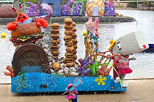Mr. Krabs - A float featuring Mr. Krabs and Pearl at Sea World in Southport, Queensland.