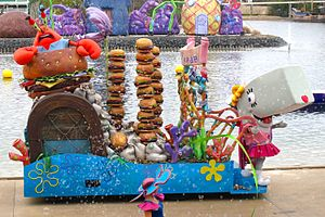 Pearl Krabs - A float featuring Mr. Krabs and Pearl at Sea World in Southport, Queensland