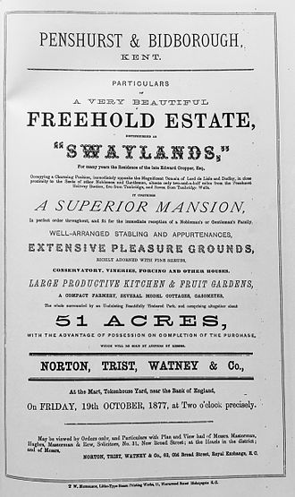 Swaylands - Swaylands particulars of sale, The Times, 1877