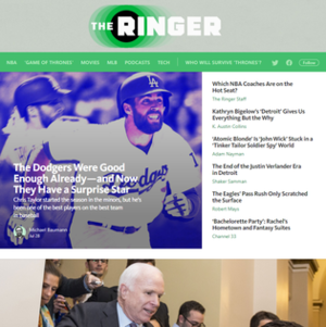 The Ringer (website) - Image: The Ringer screenshot