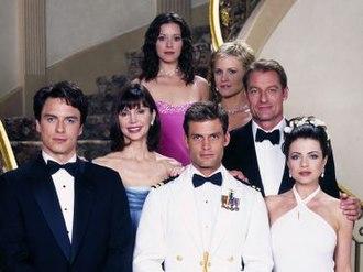 Titans (2000 TV series) - Cast of Titans (from left to right: Barrowman, Principal, Bogush, Van Dien, Davis, King, Bleeth)
