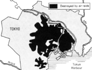 1946 U.S. military survey showing bomb-damaged areas of Tokyo. The Imperial Palace is within the large undamaged section in the center. The Palace itself took heavy damage even though bombing it was specifically prohibited by USAAF order