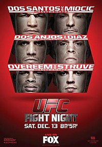 A poster or logo for UFC on Fox: dos Santos vs. Miocic.