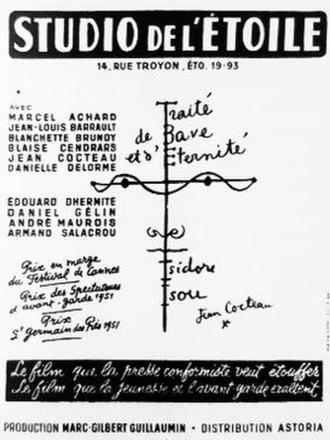 Isidore Isou - Traité de Bave et d'Eternité poster, by Jean Cocteau