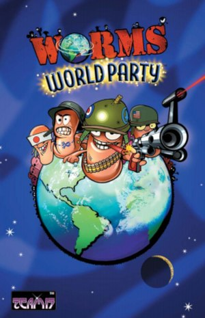 Worms World Party - Early European Windows cover (The actual release has Titus Software's logo instead of Virgin Interactive's)