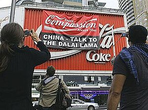 Coca-Cola billboard - In 2008 activists covered the billboard in protest of Chinese policies towards Tibet.
