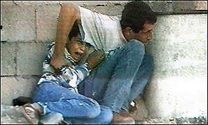 Muhammad al-Durrah incident - Muhammad and Jamal al-Durrah filmed by Talal Abu Rahma for France 2