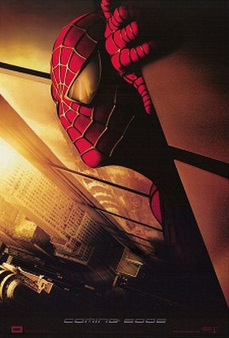 Spider-Man (2002 film) - Original Spider-Man teaser poster, which was recalled from theatres following 9/11 (the World Trade Center is reflected in Spider-Man's eyes)