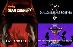"A woman's body with ""Starring Sean Connery"" projected on it; women alongside a cocktail glass with the Union Jack in it with ""On Her Majesty's Secret Service"" written underneath; a woman's open eyes and red smoke, with ""Live and Let Die"" written over the image; and a diamond necklace with ""Diamonds Are Forever"" written over it"
