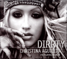 "Picture with the words ""DIRRTY CHRISTINA AGUILERA FEATURING REDMAN"" under the image of Christina Aguilera"