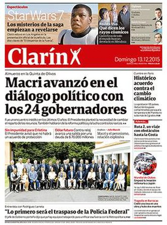 Clarín (Argentine newspaper) - Front page of Clarín from 13 December 2015