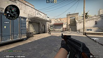 Counter-Strike: Global Offensive - An in-progress match on Dust II, in which the player is using an AK-47