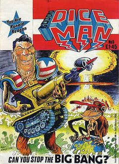 "The cover is titled ""2000 AD's Diceman."" In the corner a caption reads ""You are Ronald Reagan"" and at the bottom a caption reads ""Can you stop the BIG BANG?"" In the foreground is a caricature of President Ronald Reagan, carrying a large gun shaped like a tank, and wearing shoulder-pads with the stars and stripes on. Beside him a monkey sits on a globe which has a red button on the North Pole; the monkey is pressing the button. In the background a nuclear explosion destroys a city. The picture is signed by Hunt Emerson. The issue is priced at £1.45."