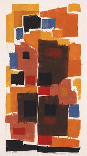 """Werner Drewes - Werner Drewes, """"Autumn Gold,"""" color woodblock, 1969, 23 x 13 inches, Smithsonian American Art Museum, gift of the artist"""