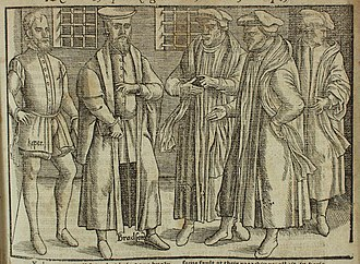 John Bradford - Bradford in prison with bishops from Foxe's Book of Martyrs
