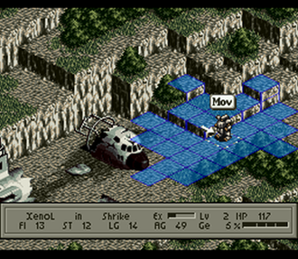 Tactical role-playing game - Isometric graphics of Front Mission. The character's movement range is indicated in blue. Some terrain objects such as trees block movement. The terrain also shows a noticeable variation in height at different places.