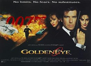GoldenEye - British cinema poster for GoldenEye, by Terry O'Neill, Keith Hamshere and George Whitear