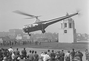 Los Angeles Airways - Los Angeles Airways helicopter taking off from the roof of the Terminal Annex Post office to inaugurate helicopter air-mail service, 1947.