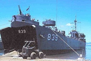 Iredell County beached on the LST ramp at Da Nang, 1967
