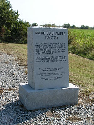 Kentucky Bend - Front stone for the Madrid Bend families' cemetery (known in official registries as Whitson Cemetery)