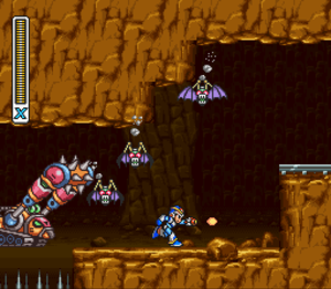 Mega Man X (video game) - The player character Mega Man X evades enemies in Armored Armadillo's stage.